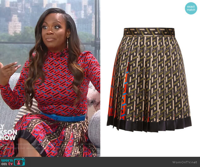 Pleated geometric-print skirt by Versace worn by Kandi Burruss on The Kelly Clarkson Show