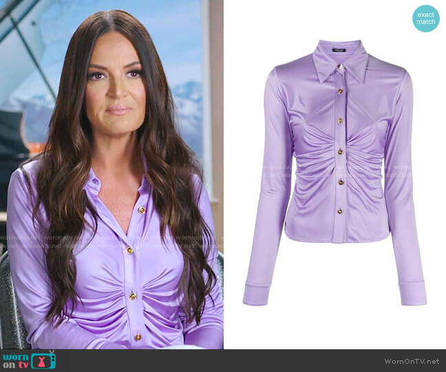 Ruched-Front Blouse by Versace worn by Lisa Barlow  on The Real Housewives of Salt Lake City