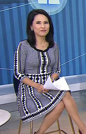 Vicky's black and white geometric print dress on Today
