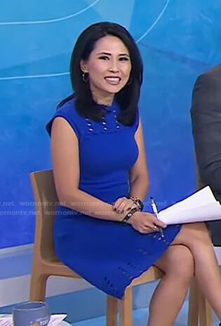 Vicky's blue eyelet knit dress on Today