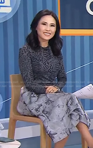 Vicky's grey animal print top and floral skirt on Today