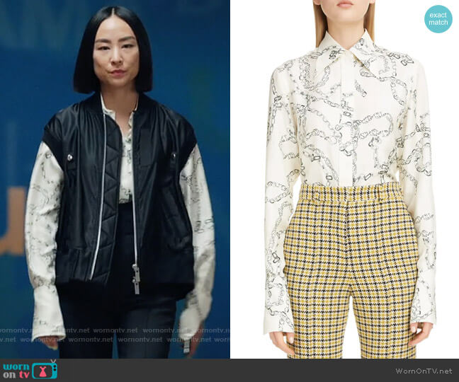 Victoria Beckham Chain Print Silk Shirt worn by Stella Bak (Greta Lee) on The Morning Show