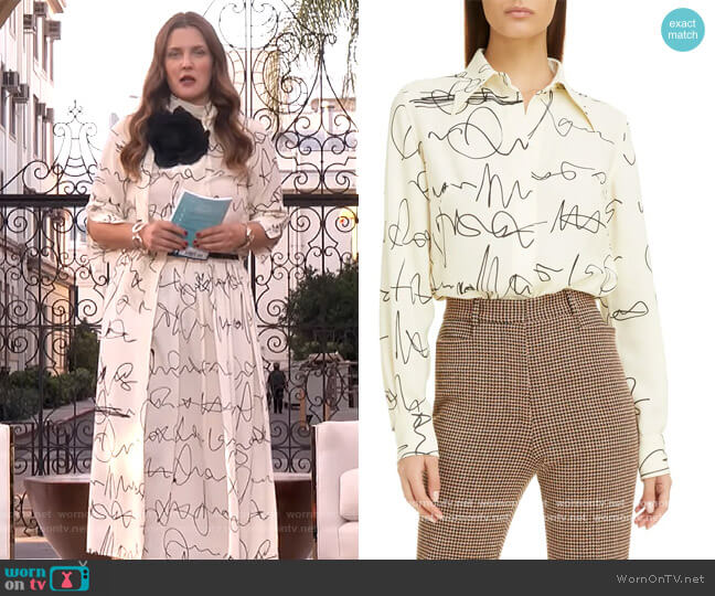 Scribble Print Blouse by Victoria Beckham worn by Drew Barrymore  on The Drew Barrymore Show