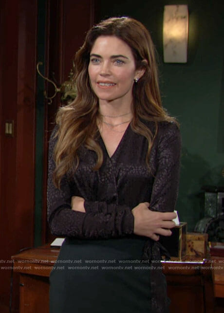 Victoria's black wrap blouse on The Young and the Restless