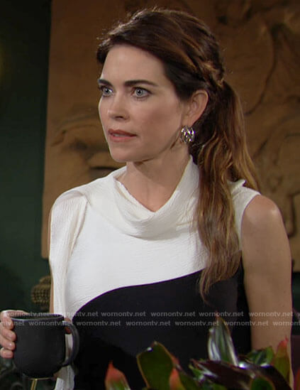 Victoria's black and white draped top on The Young and the Restless