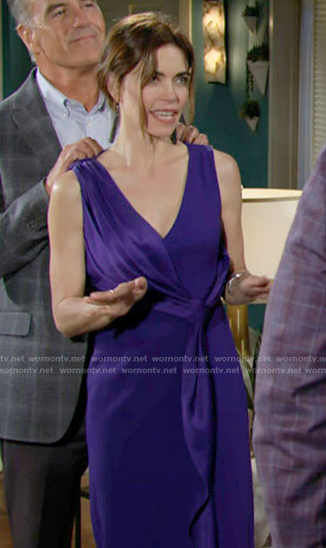 Victoria's purple satin draped overlay dress on The Young and the Restless