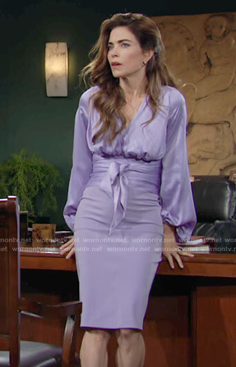 Victoria's lilac purple wrap waist blouse and skirt on The Young and the Restless