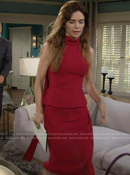 Victoria's red peplum top with draped back on The Young and the Restless