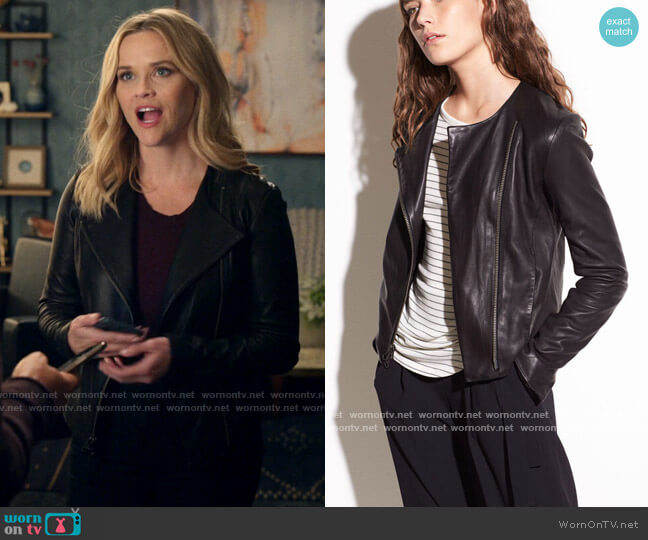 Vince Cross Front Leather Jacket worn by Bradley Jackson (Reese Witherspoon) on The Morning Show