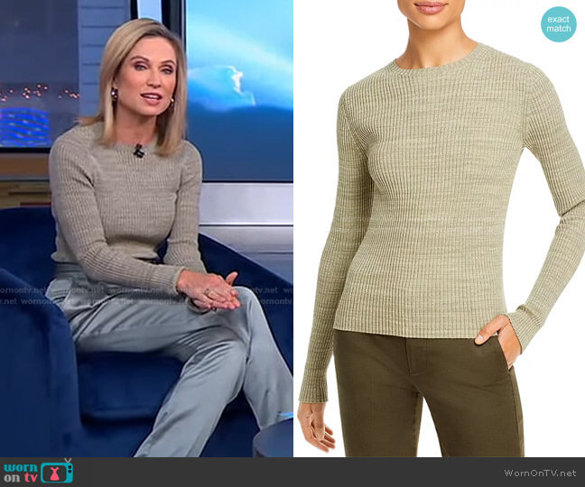 Marled Ribbed Cotton Crewneck Top by Vince worn by Amy Robach  on Good Morning America