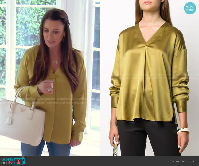 V-Neck Silk Blouse by Vince worn by Kyle Richards  on The Real Housewives of Beverly Hills