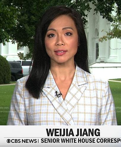 Weijia Jiang's plaid blazer dress on CBS This Morning