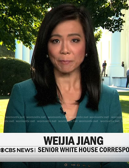Weijia Jiang's teal green belted blazer on CBS This Morning