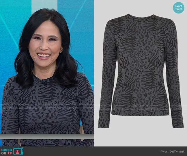 Animal Burnout Crew Neck Top by Whistles worn by Vicky Nguyen  on Today