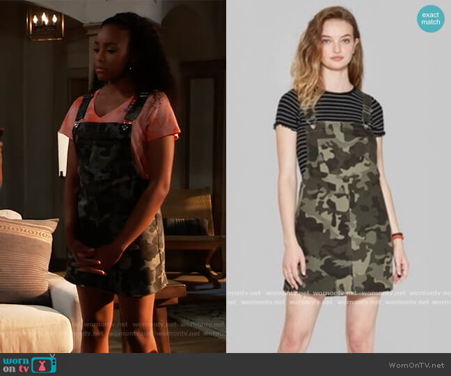 Camo Overalls by Wild Fable worn by Trina (Sydney Mikayla) on General Hospital