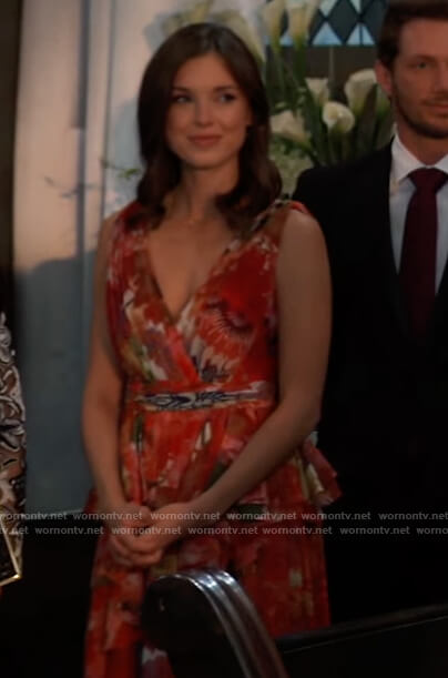 Willow's red floral gown on General Hospital