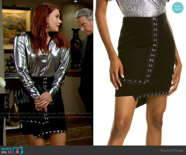 Yigal Azrouel Hook & Eye Mini Skirt worn by Sally Spectra (Courtney Hope) on The Young & the Restless