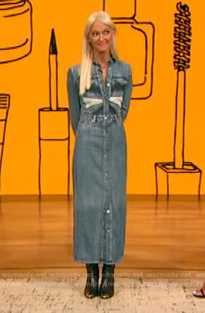 Zanna Roberts Rassi's denim patchwork dress on The Drew Barrymore Show