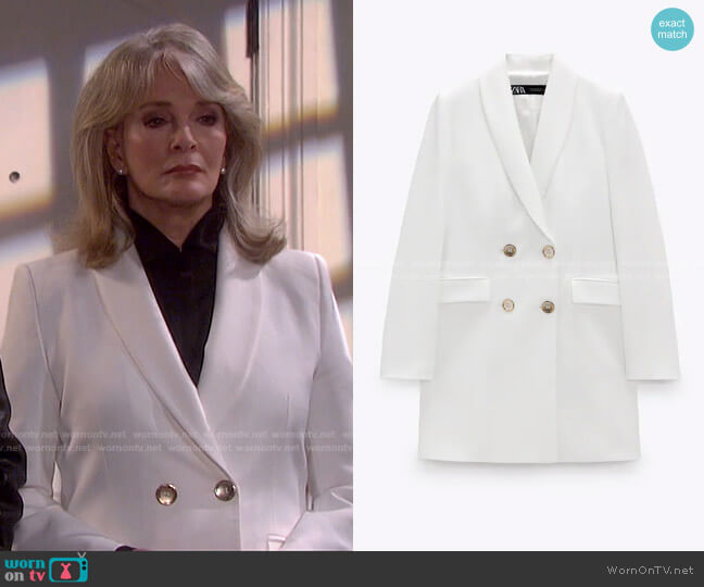 Double Breasted Long Blazer by Zara worn by Marlena Evans (Deidre Hall) on Days of our Lives