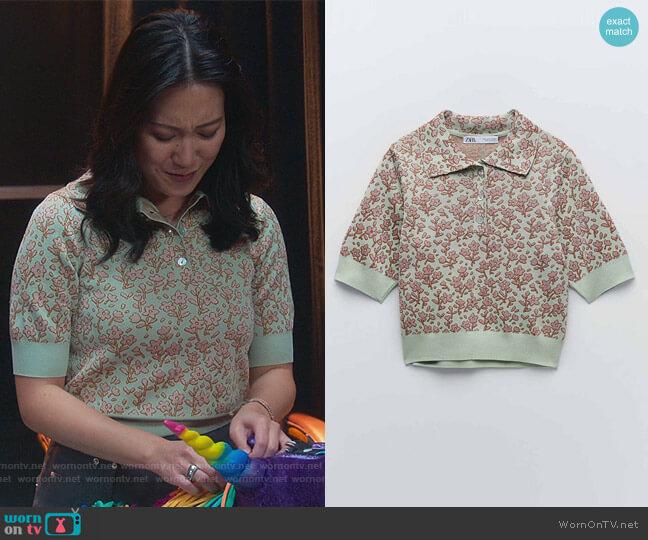 Jacquard Knit Polo by Zara worn by Kara Wang on Good Trouble