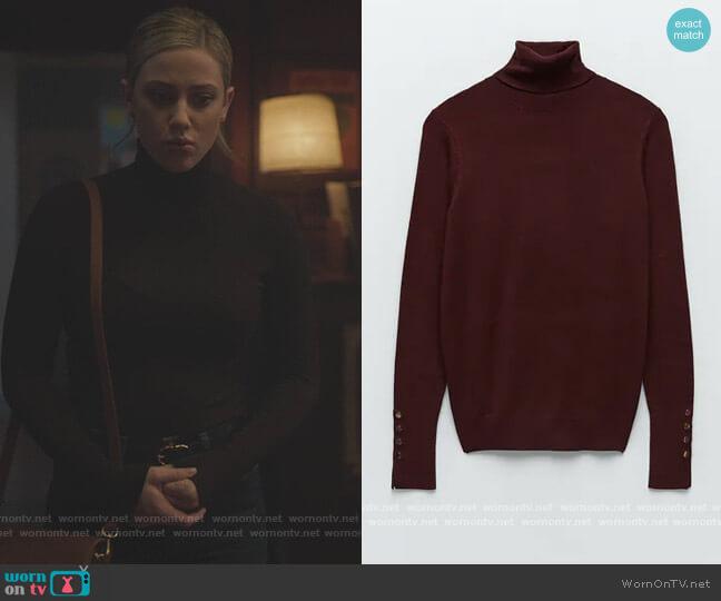 Mock Neck Sweater by Zara worn by Betty Cooper (Lili Reinhart) on Riverdale