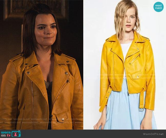 Faux Leather Moto Jacket by Zara worn by Aurora Decker-Morningstar (Brianna Hildebrand) on Lucifer