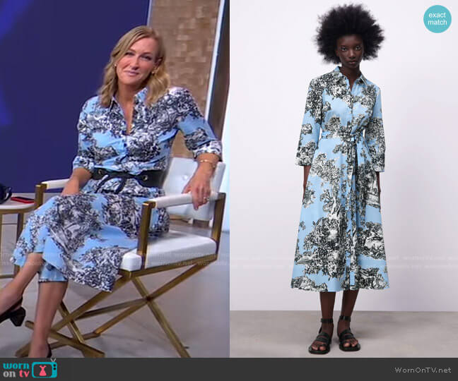 Floral Shirtdress by Zara worn by Lara Spencer  on Good Morning America