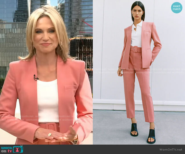 Lapelless Blazer and Pants with Fabric Covered Belt by Zara worn by Adrienne Bankert  on Good Morning America
