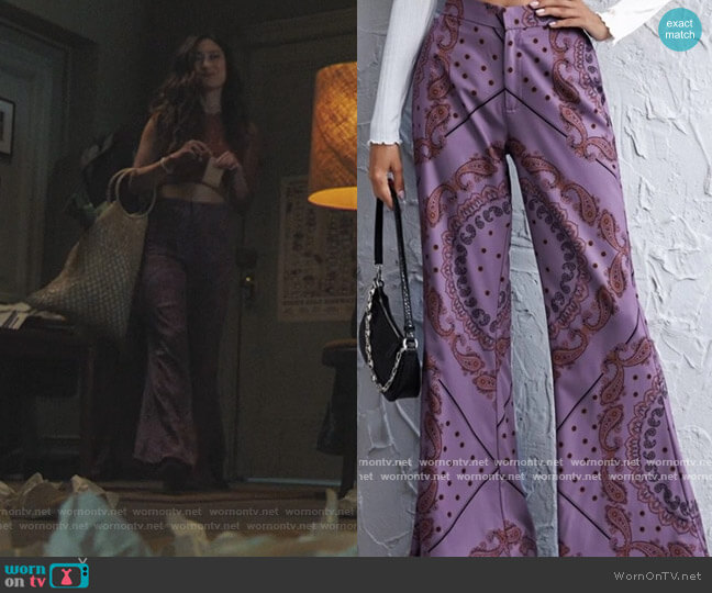 Paisley Flare Pants by Zara worn by Phoebe Miu on Riverdale