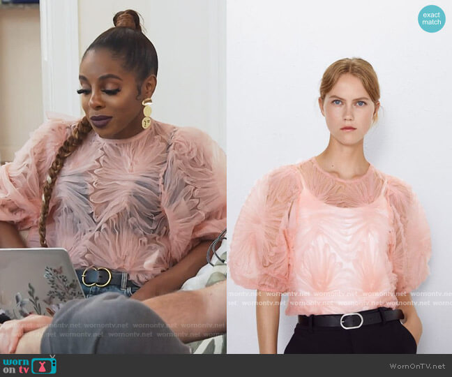 Pink Tulle Ruffle Top by Zara worn by Candiace Dillard Bassett  on The Real Housewives of Potomac
