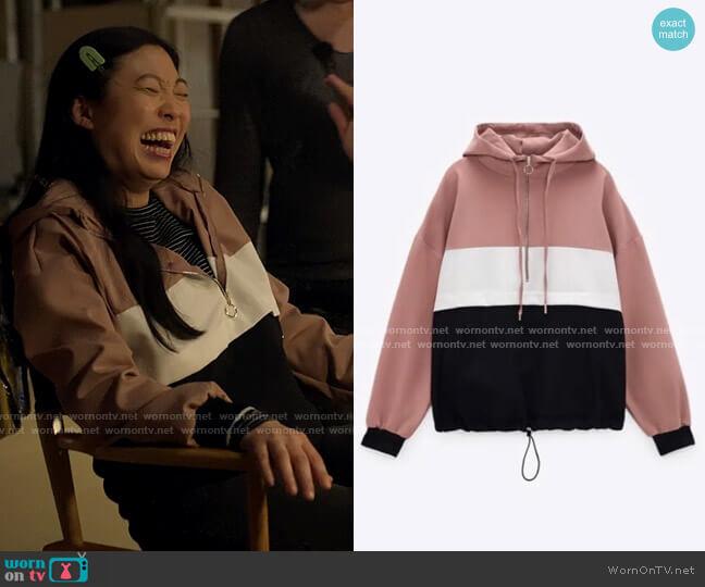 Zara Zip Sweatshirt worn by Nora Lum (Awkwafina) on Awkwafina is Nora From Queens