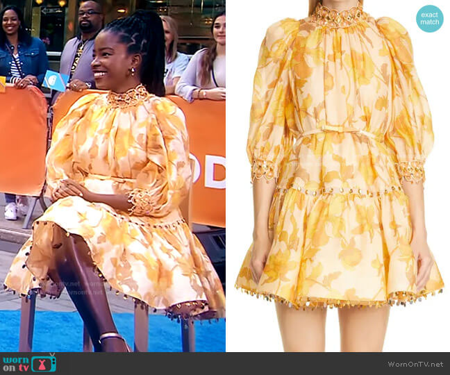 Tempo Rouleau Belted Linen & Silk Minidress by Zimmermann worn by Amanda Gorman on Today