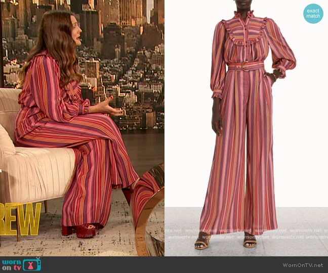 Billow Blouse and Pants by Zimmermann worn by Drew Barrymore  on The Drew Barrymore Show