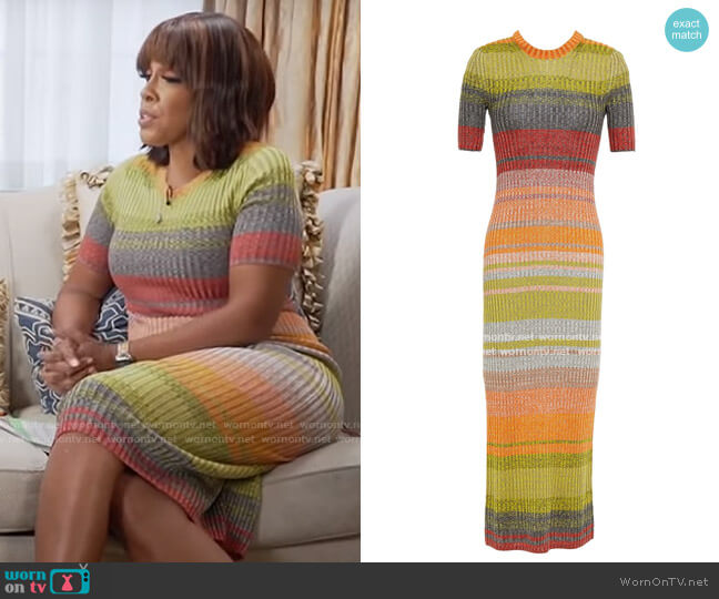 Zimmermann Brightside striped ribbed-knit midi dress worn by Gayle King  on CBS Mornings