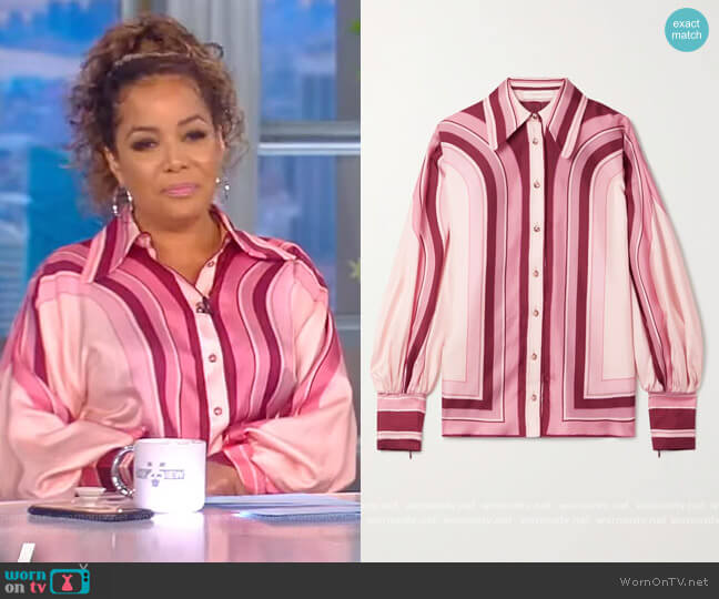 Concert striped silk-twill shirt by Zimmermann worn by Sunny Hostin  on The View