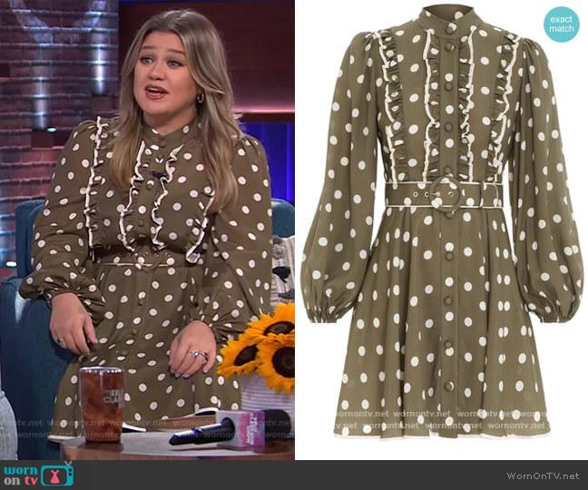 Spot Frill Mini Dress by Zimmermann worn by Kelly Clarkson  on The Kelly Clarkson Show