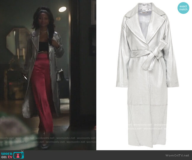 Sabotage Barrel metallic textured-leather trench coat by Zimmermann worn by Camille Hyde on Riverdale