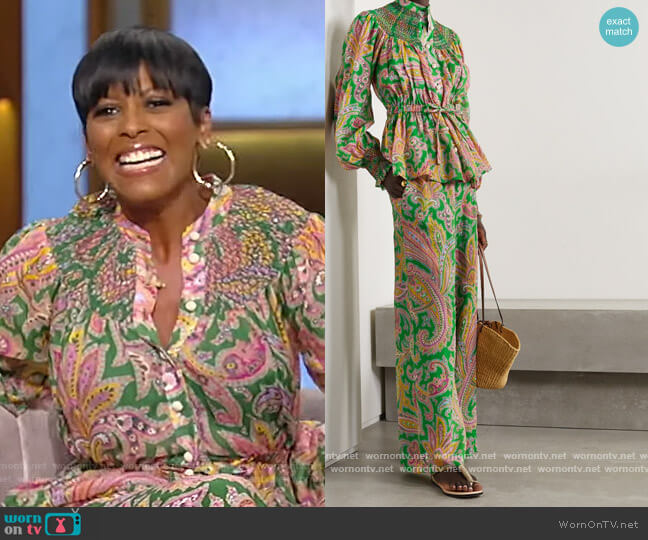 Teddy smocked paisley-print ramie blouse and pants by Zimmermann worn by Tamron Hall  on Tamron Hall Show