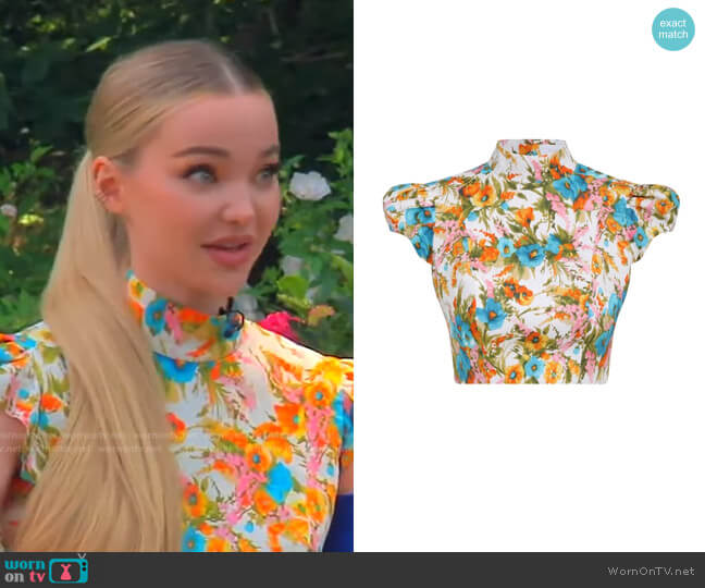 Estelle Cropped Top by Zimmermann worn by Dove Cameron on Live with Kelly and Ryan