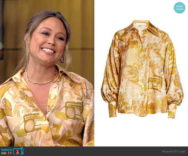 Tempo Collage Blouse by Zimmermann worn by Vanessa Lachey