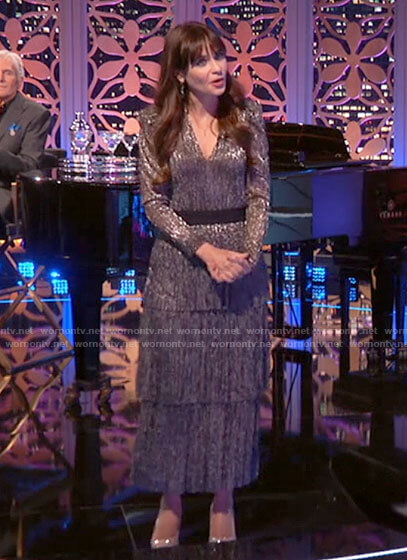 Zooey Deschanel's metallic tiered maxi dress on The Celebrity Dating Game