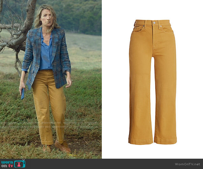7 For All Mankind Alexa High-Rise Crop Wide Leg Jeans in Amber worn by Eve Harris (Natalie Zea) on La Brea