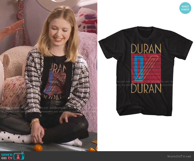 Duran Duran Original Band Logo T Shirt by American Classics Store worn by Stacey McGill (Shay Rudolph) on The Baby-Sitters Club