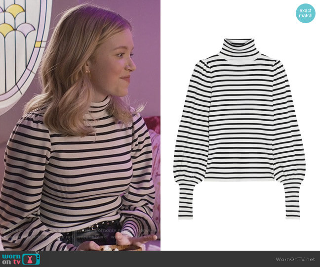 Karla striped ribbed-knit turtleneck sweater by A.L.C. worn by Stacey McGill (Shay Rudolph) on The Baby-Sitters Club