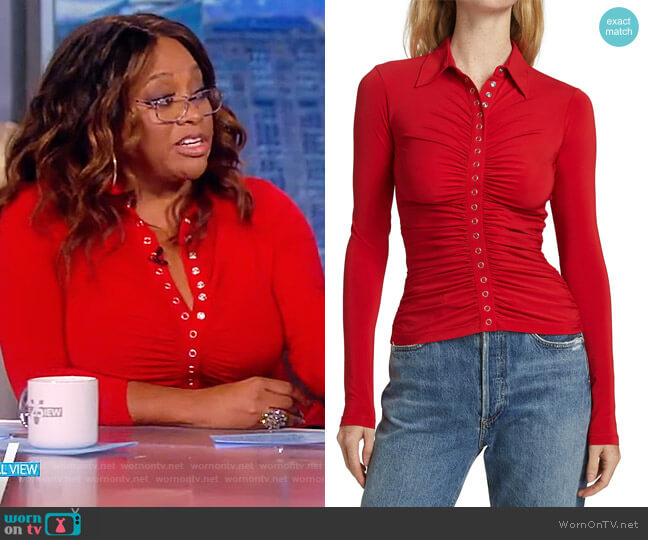 Larsen Ruched Polo Top by A.L.C. worn by Sherri Sheapherd on The View