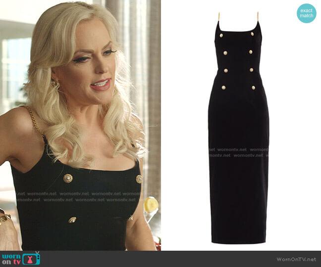 Embellished Stretch-Velvet Maxi Dress by Alessandra Rich worn by Alexis Carrington (Elaine Hendrix) on Dynasty