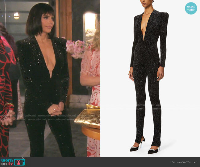 Halsey Glitter sStretch-Velvet Jumpsuit by Alex Perry worn by Lisa Rinna  on The Real Housewives of Beverly Hills