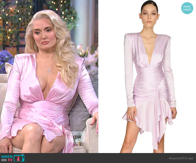 Draped Stretch Satin Dress by Alexandre Vauthier worn by Erika Jayne  on The Real Housewives of Beverly Hills