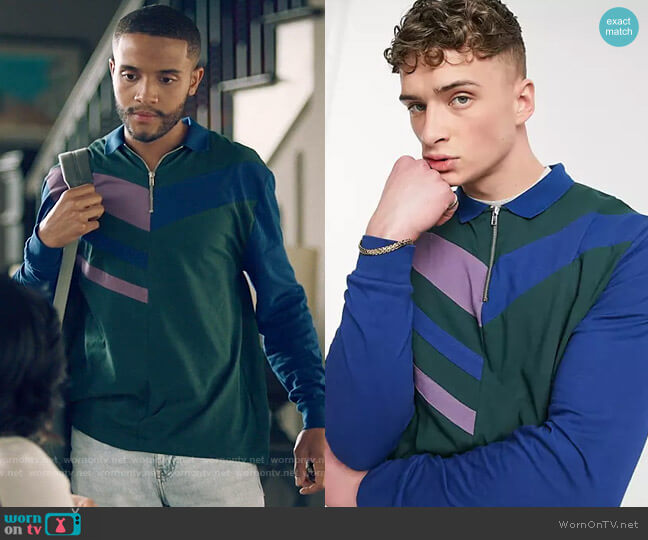 ASOS DESIGN relaxed long sleeve polo shirt in color block worn by Micah West (Nicholas L. Ashe) on Queen Sugar