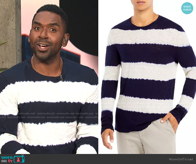 Cotton Textured Tie Dyed Stripe Long Sleeve Tee by ATM Anthony Thomas Melillo worn by Justin Sylvester  on E! News